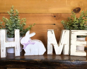 Distressed rustic letters and seasonal characters Country wooden letters Free standing Home letters with seasonal characters
