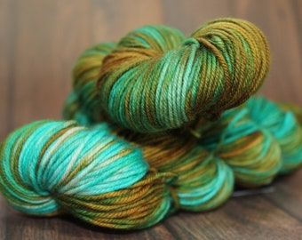 Charmed. Copper Patina. DK weight. 100g. Merino variegated yarn. DK yarn.