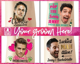 custom personalized bachelorette party PHOTO temporary tattoos - THE GROOM - face tattoos - party tattoos - groom tattoo - bachelorette