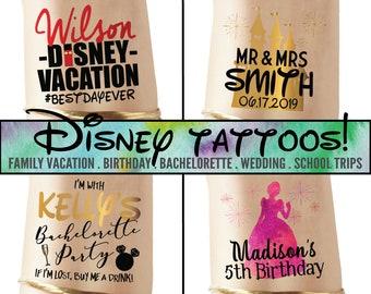 cbab3d2f6 Set of Disney inspired tattoos, disney theme party, disney prints, family  vacation, princess tattoo, disney tshirt, phone number tattoo WDW