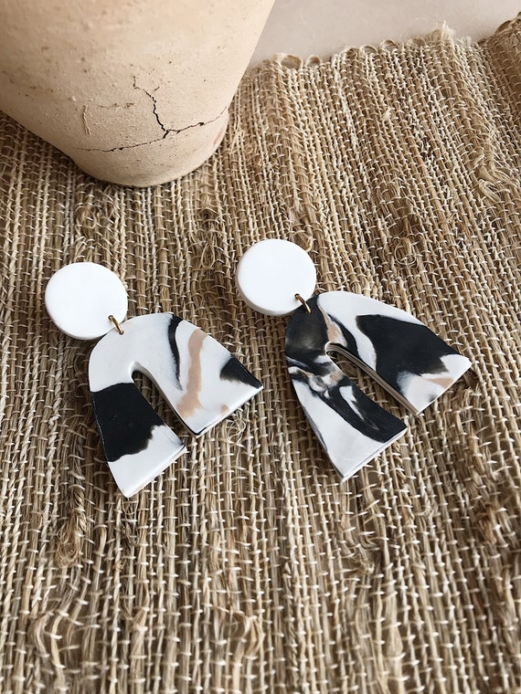 FURROW marble archie earrings