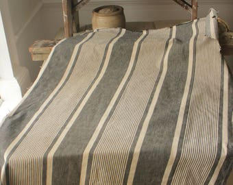 Antique French Fabric Ticking Striped Material Blue White Denim 1900 Sewing Upholstery Pillows Projects Quilting Indigo