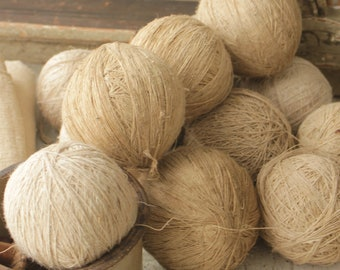 128dc080bda7 Hand spun Vintage Natural linen yarn balls twine hemp thread beautiful for  display or for projects 19th century