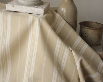 Antique French Fabric Ticking Striped Ecru and White Material 1920 Sewing Upholstery Pillows Projects Quilting
