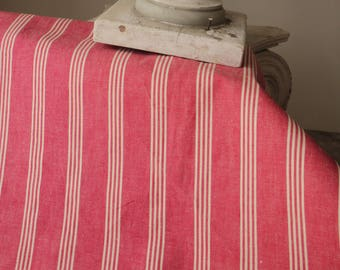 Antique French Fabric Ticking Striped Material salmon dusty red pink 1900 Sewing Upholstery Pillows Projects Quilting