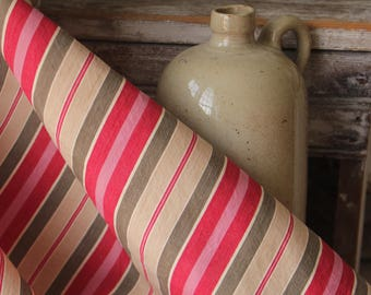 Colorful Antique French Fabric Ticking Striped Material 1930 Sewing Upholstery Pillows Projects Quilting