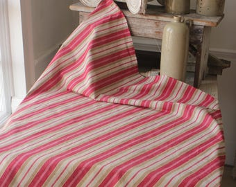 Colorful Antique French Fabric Ticking Striped Material 1900 Sewing Upholstery Pillows Projects Quilting