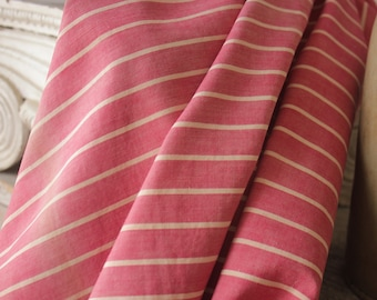 Antique French Fabric Ticking Striped Material salmon dusty pink 1910s Sewing Upholstery Pillows Projects Quilting
