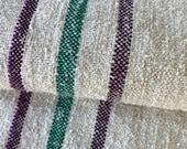 Soft Grain Sack Fabric Linen Feedsack Grainsack stripes Vintage bag hemp striped textile European washed Fabric