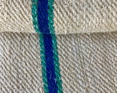 RARE purple and green Grain Sack Fabric Linen Feedsack Grainsack stripes Vintage bag hemp striped textile European washed Fabric