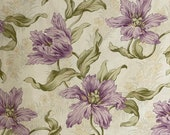 Purple tulip French Art Nouveau fabric material Floral STUNNING heavy weight cotton upholstery