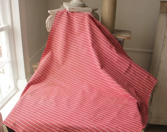 Antique French Fabric Ticking Striped Material salmon dusty pink 1900 Sewing Upholstery Pillows Projects Quilting