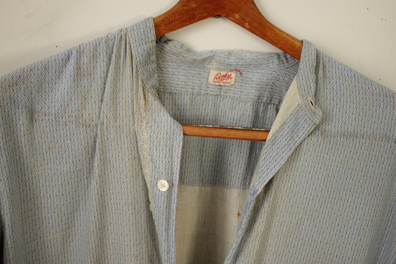 New 1930s Mens Fashion Ties Vintage Shirt 1930S Mens Geometric Patterned Cotton Distressed $0.00 AT vintagedancer.com