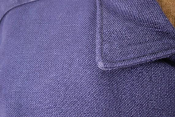 Shirt Blue Heavy cotton or light jacket Vintage F… - image 7