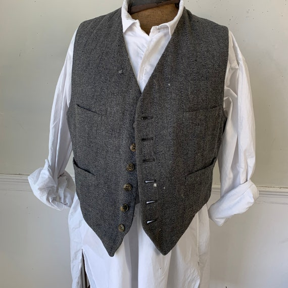 Antique French gray  woven tweed  unisex  vest / w