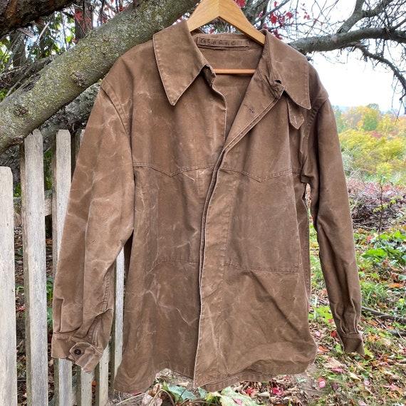 Work wear Vintage Canvas Jacket Heavy Brown Cotton