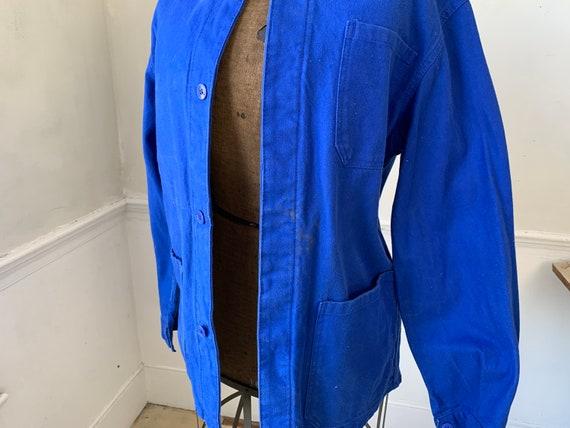 Vintage Jacket French Prussian Blue Farmer's Work… - image 7