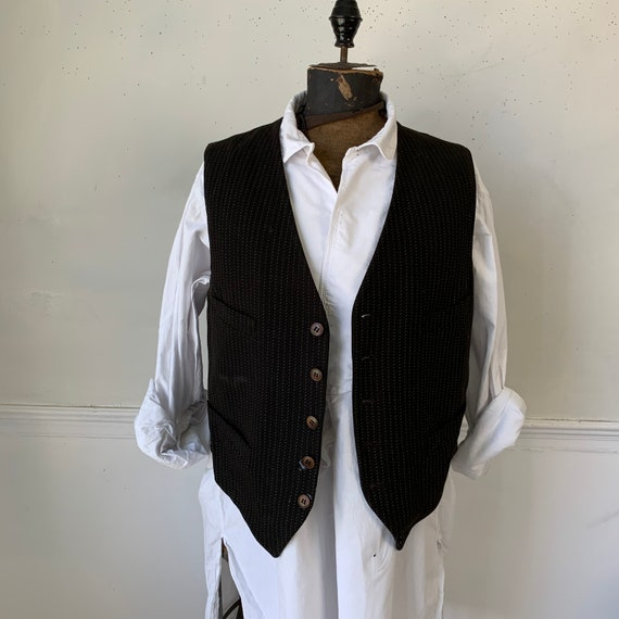 Antique French black woven tweed  unisex  vest / w