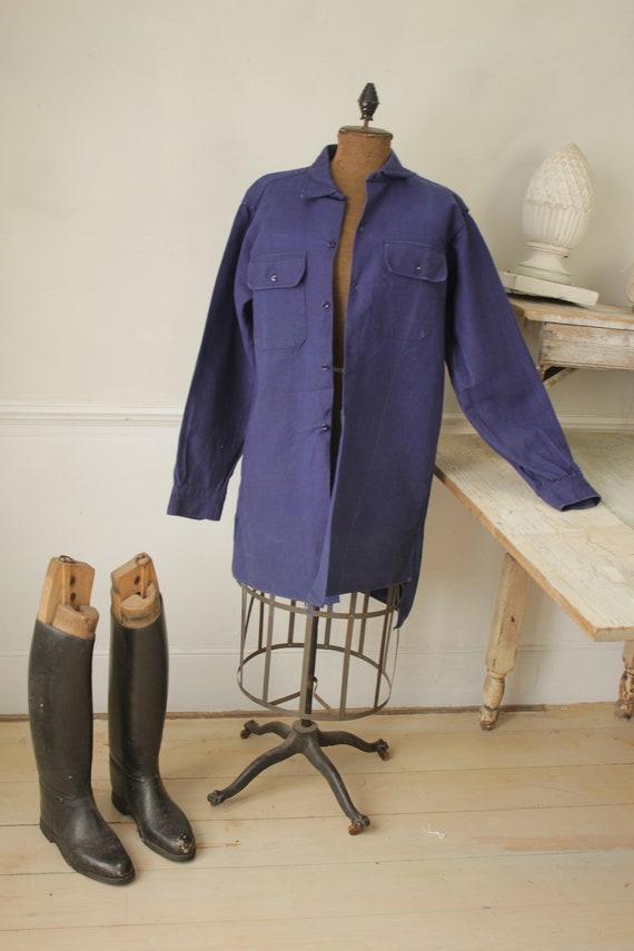 Shirt Blue Heavy cotton or light jacket Vintage F… - image 4