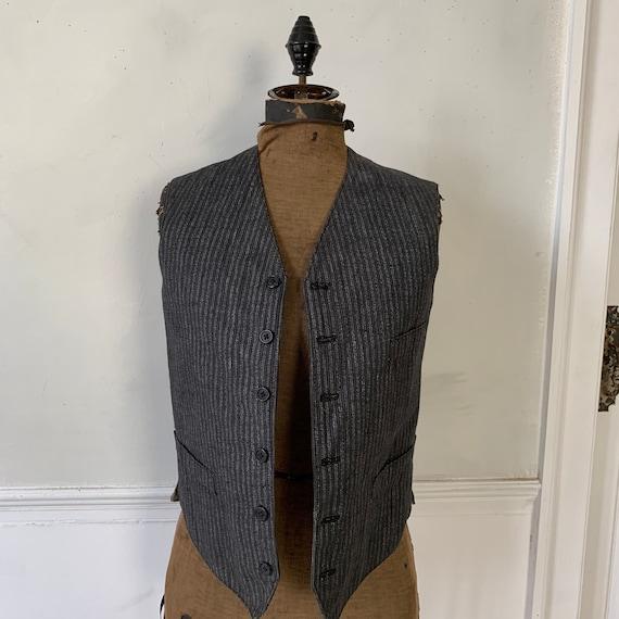 Antique Vest 1940s Striped Gray and Black Waistco… - image 1