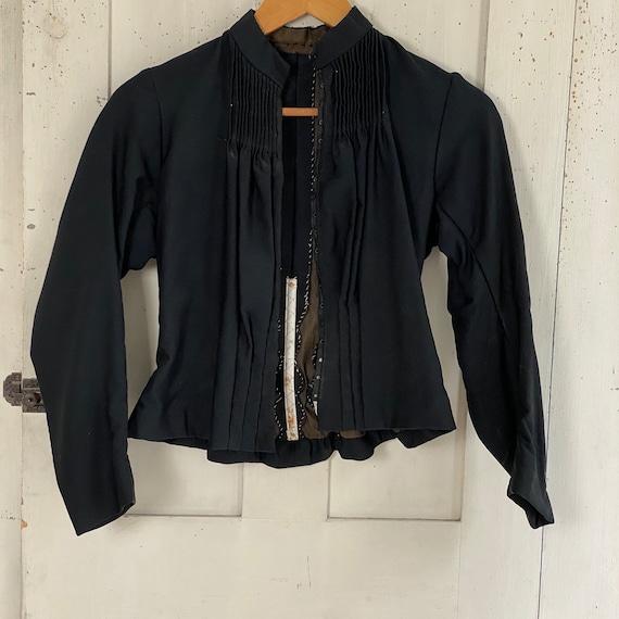 Victorian French Shirt Black Silk Blouse or Antiq… - image 4