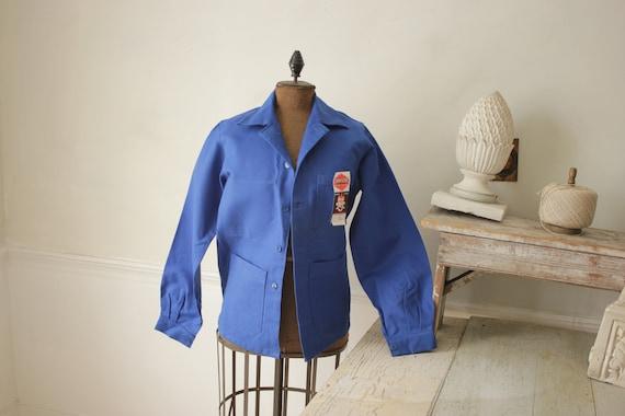 Jacket Vintage French Blue Coat Work wear button … - image 1