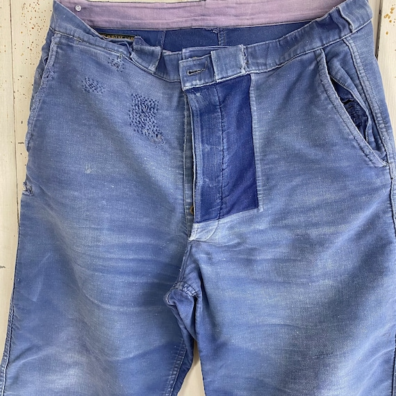 39 waist Vintage Pants Patched French Workwear Blu