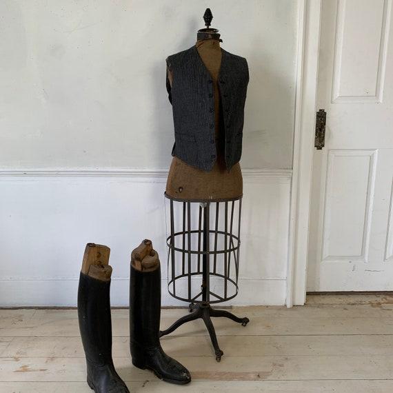 Antique Vest 1940s Striped Gray and Black Waistco… - image 2