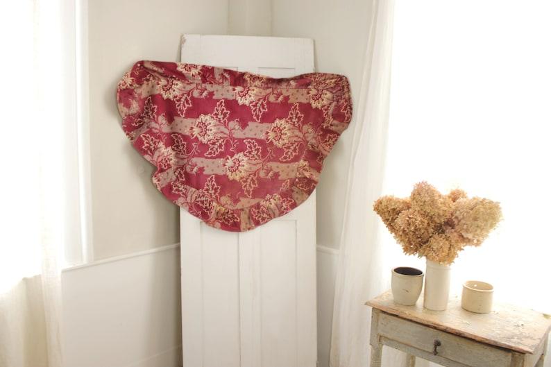 Antique Fabric Ciel de lit textile French valance dark red 1890/'s heavy cotton textile