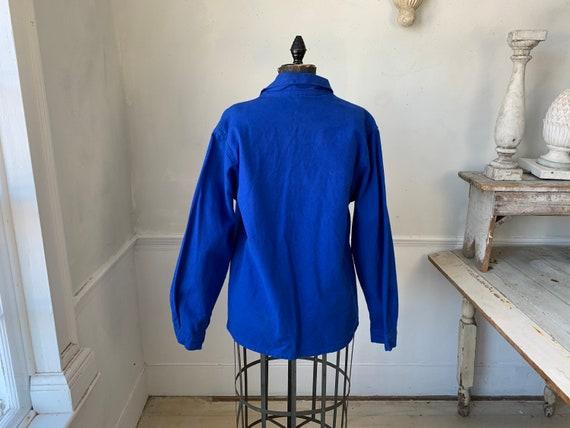 Vintage Jacket French Prussian Blue Farmer's Work… - image 4