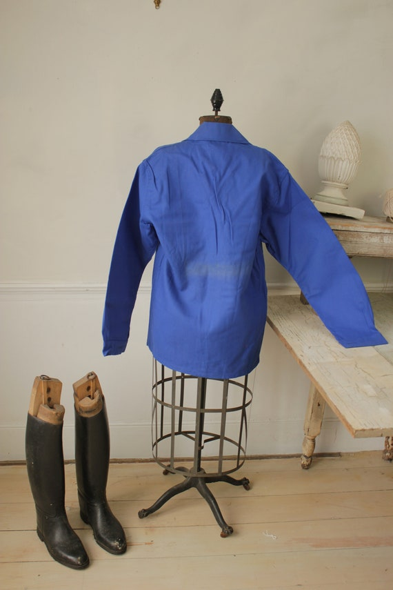 Jacket Vintage French Blue Coat Work wear button … - image 7