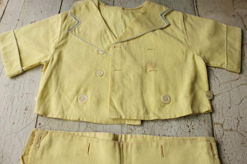 Vintage Child/'s Outfit Yellow Ribbed Cotton Romper with Shirt and Shorts that Button Together