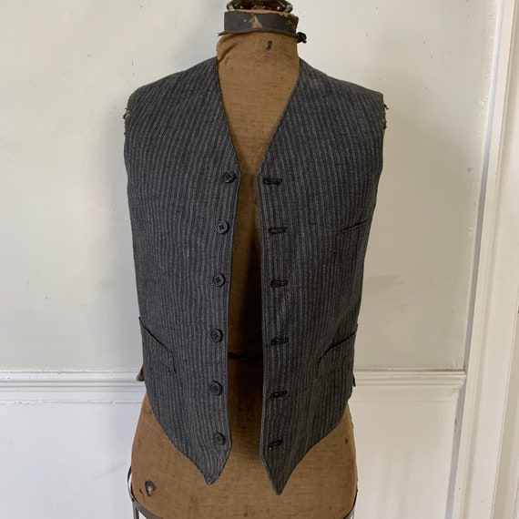 Antique Vest 1940s Striped Gray and Black Waistco… - image 5