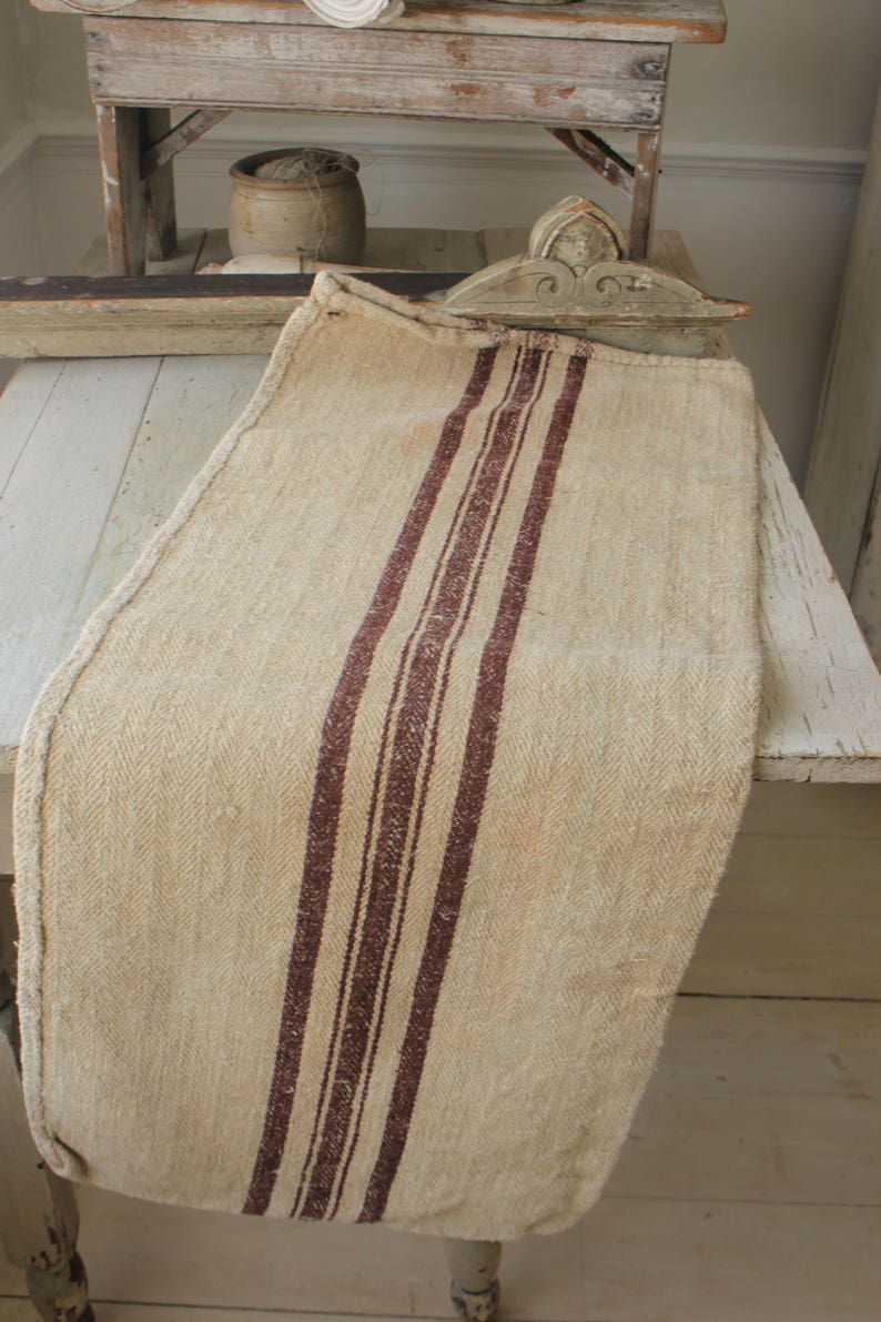 Feed & Flour Sacks Antique European Hemp Grain Sack Gorgeous Rare Caramel Tan Brown Stripes Sale Price Antiques