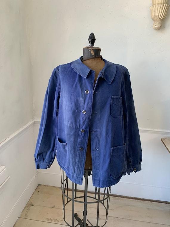 Vintage French Workwear Jacket Faded Antique Fren… - image 3