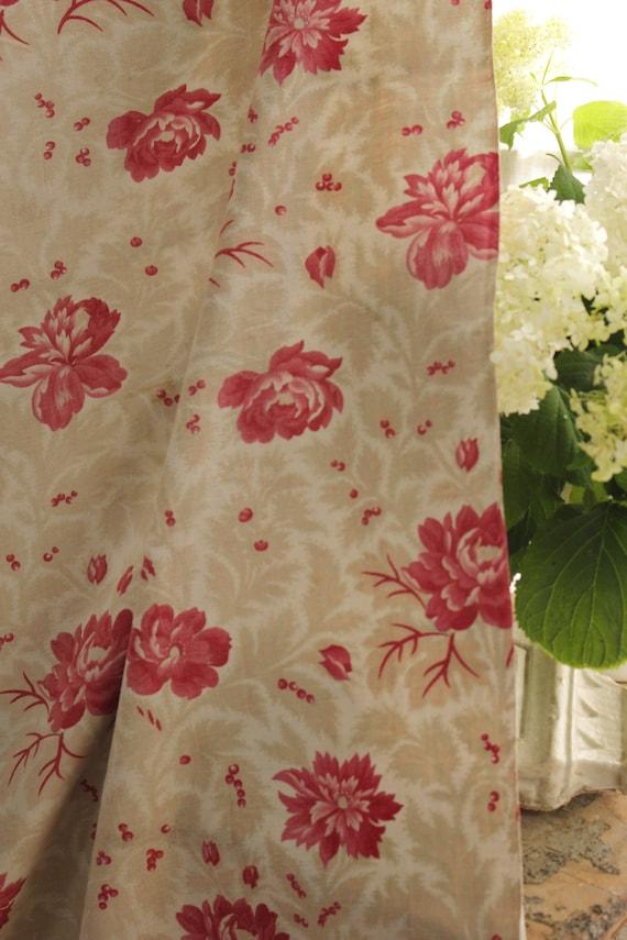 "EARLY 19th Century Tiny Print Deep Gray /& Brown Cotton Cretonne Fabric 24/""w BTY"