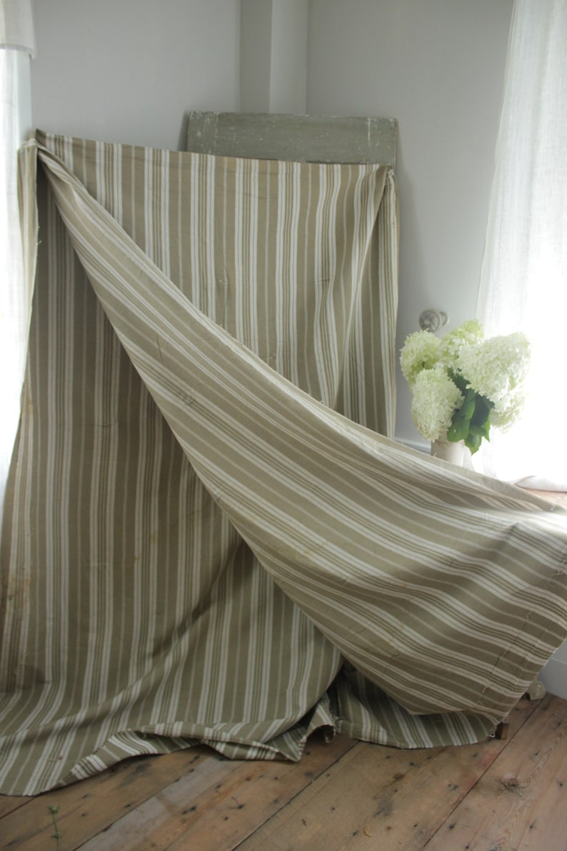 Antique French Fabric Ticking Striped Khaki and White 1890 herringbone weave Sewing Upholstery Pillows Projects Quilting