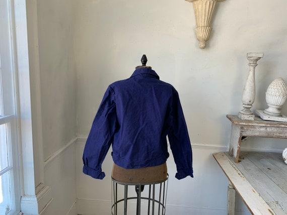 Vintage Jacket French Workwear Dark Blue Coat Zip… - image 3