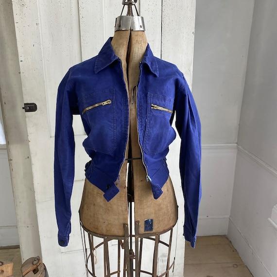 Vintage Jacket French Workwear Dark Blue Coat Zip… - image 5