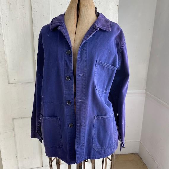 Vintage Jacket French Workwear Faded Antique Dark… - image 3