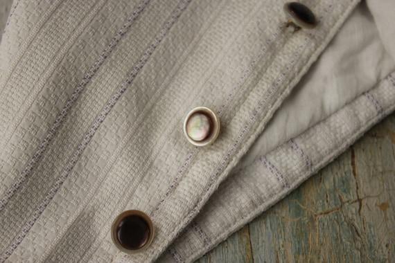Vintage French Vest Waistcoat Workwear White & Pur