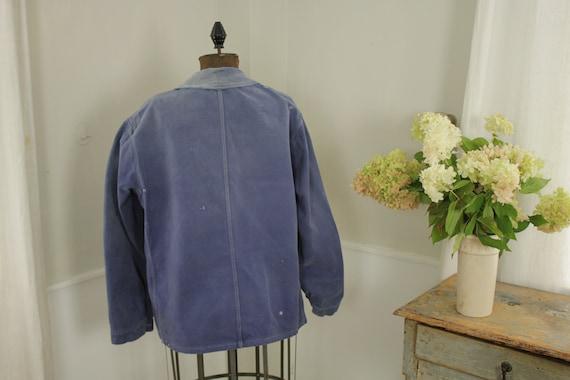Jacket French work wear Faded Antique Blue Denim … - image 8