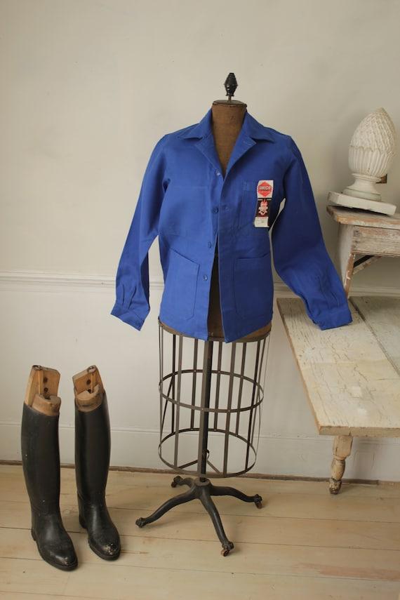 Jacket Vintage French Blue Coat Work wear button … - image 4