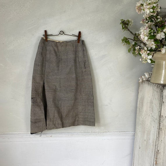 Vintage French Women's Skirt Houndstooth Skirt 19… - image 1
