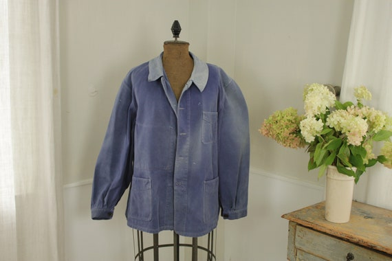 Jacket French work wear Faded Antique Blue Denim … - image 2