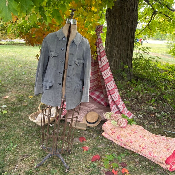 Vintage Hunting Jacket French Workwear  Coat with