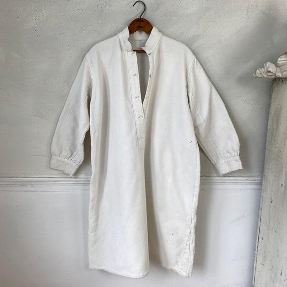 White Brushed Cotton Shirt Textured Sleepwear 192… - image 4