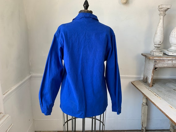 Vintage Jacket French Prussian Blue Farmer's Work… - image 8