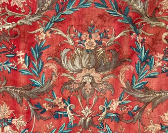 AMAZING Antique 18th century  large scale hand block printed red gray fabric material French