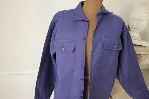 Shirt Blue Heavy cotton or light jacket Vintage F… - image 5